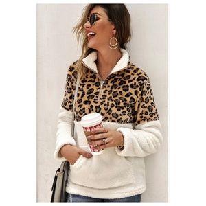 Leopard Print Faux Sherpa 1/4 Zip Pullover Ivory